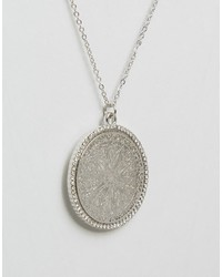 NY:LON Nylon Silver Plated Filigree Disc Pendant Necklace