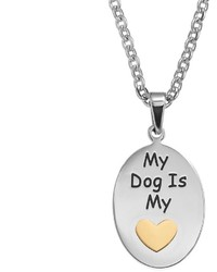 Steel City Stainless Steel Two Tone My Dog Is My Heart Pendant Necklace