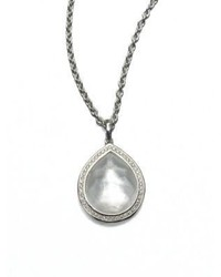 Ippolita Stella Mother Of Pearl Clear Quartz Diamond Sterling Silver Teardrop Doublet Pendant Necklac
