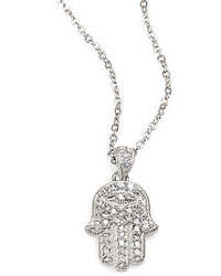 Adriana Orsini Sterling Silver Pav Hamsa Pendant Necklace