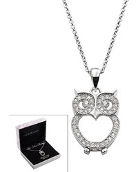 The Silver Lining Silver Plated Cubic Zirconia Owl Pendant