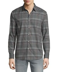John Varvatos Star Usa Plaid Slim Fit Sport Shirt Silver Heather