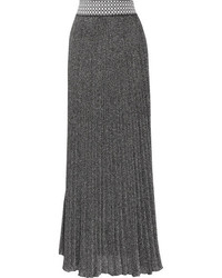 Pleated metallic knitted maxi skirt silver medium 1152713