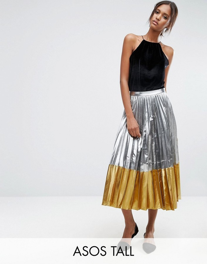 c846029922b92d ... Asos Tall Asos Tall Pleated Midi Skirt In Metallic With Contrast Hem ...
