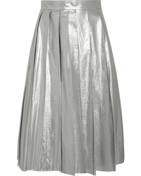Awake pleated metallic cotton midi skirt silver medium 1211716