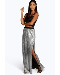 Boohoo Boutique Elle Metallic Pleated Split Maxi Skirt