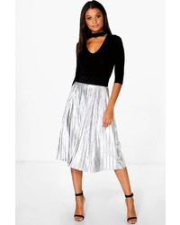 Boohoo Jeana Metallic Pleated Midi Skirt