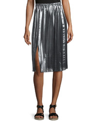Isabel Marant Madlen Pleated Metallic Midi Skirt Silver