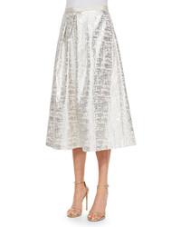 Phoebe Jacquard Midi Ball Skirt Silver