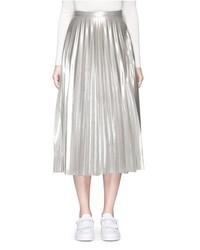 Topshop Pleated Metallic Midi Skirt