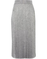 River Island Silver Pleated Midi Skirt