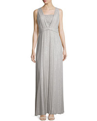 Silver Pleated Sequin Evening Dress