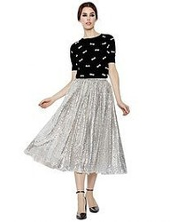 Silver Pleated Sequin Midi Skirt