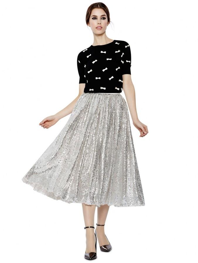 silver pleated sequin midi skirt justina