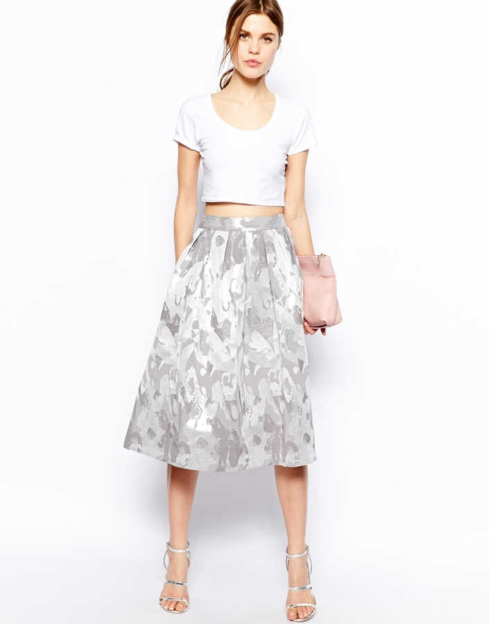 asos midi skirt in camo jacquard silver where to buy