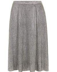 Dorothy perkins silver crinkle midi skirt medium 49992