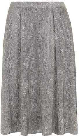 Dorothy Perkins Silver Crinkle Midi Skirt