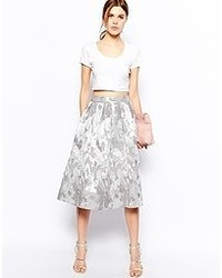 Midi skirt in camo jacquard silver medium 49993