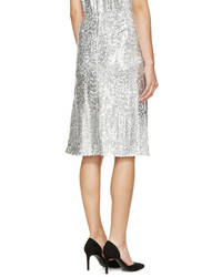 Nina Ricci Silver Sequined Skirt