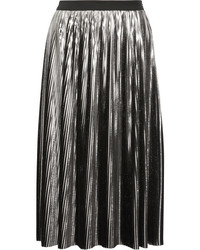 Jil Sander Pleated Lam Midi Skirt Silver
