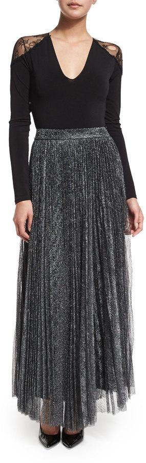 dd6a9b136 Alice + Olivia Katz Metallic Pleated Maxi Skirt Dark Silver, $485 | Neiman  Marcus | Lookastic.com