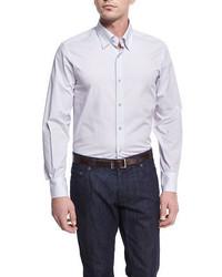 Neiman Marcus Micro Print Sport Shirt Silvergray