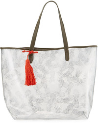 Neiman Marcus Clear Pineapple Print Tote Bag Silver