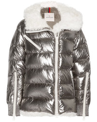 Moncler Lirio Shearling Trimmed Metallic Coated Cotton Down Coat Silver