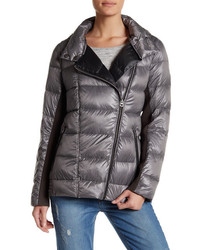 Lucky Brand Faux Leather Trim Packable Down Moto Jacket