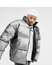 ASOS DESIGN Plus Oversized Sequin Puffer Jacket In Silver