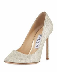 Jimmy Choo Romy Glittered 100mm Pump Silver