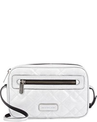 Silver Quilted Leather Crossbody Bag