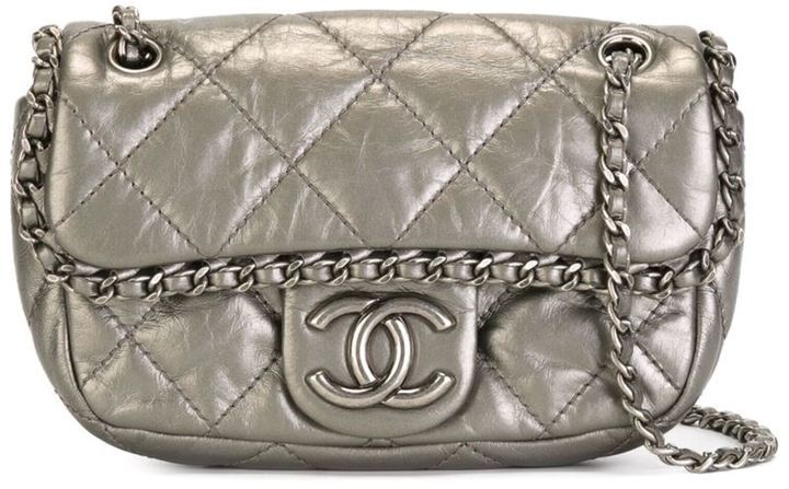 7e0779b68437 ... Silver Quilted Leather Crossbody Bags Chanel Vintage Mini Quilted  Crossbody Bag