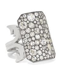 Sylva & Cie 18 Karat White Gold Sterling Silver And Diamond Ring