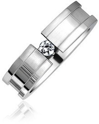 Bling Jewelry Grooved Stainless Steel Cz Tension Set Wedding Band Ring Size 6