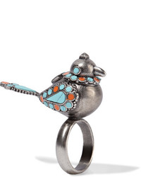 Valentino Burnished Enameled Silver Tone Ring