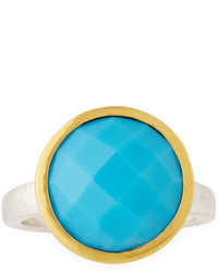 Gurhan Galapagos Large Round Checkerboard Cut Turquoise Ring Size 8
