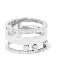 Messika Move Romane Large 18 Karat White Gold Diamond Ring