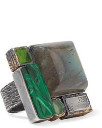 Bottega Veneta Oxidized Silver Multi Stone Ring 13