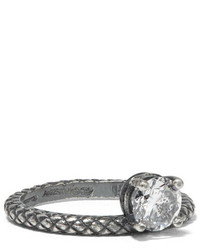 Bottega Veneta Oxidized Sterling Silver Cubic Zirconia Ring