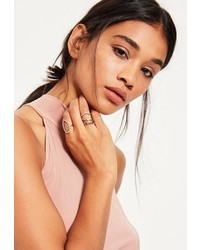 Missguided Silver 4 Pack Ring Set