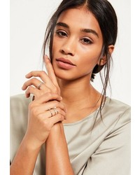 Missguided Silver Diamante Four Pack Ring Set