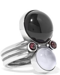 Bottega Veneta Silver Onyx And Chalcedony Ring