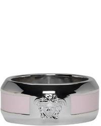 Versace Silver Pink Logo Ring