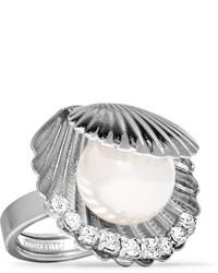 Miu Miu Silver Tone Faux Pearl And Crystal Ring