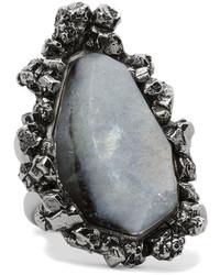 Alexander McQueen Silver Tone Labradorite Ring