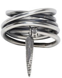 Ann Demeulemeester Silver Wound Wire Pendent Ring