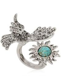 Roberto Cavalli Swarovski Bird Sun Brass Ring