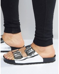 Asos Brand Sandals In Silver With Buckle