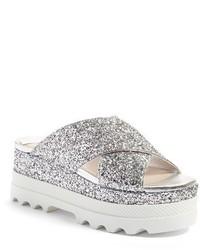 Miu Miu Crisscross Glitter Platform Sandal